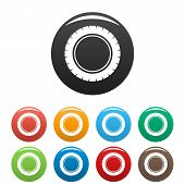 Single Tire Icon. Simple Illustration Of Single Tire Icons Set Color Isolated On White poster