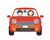 Two People, Man And Woman, Sitting In A Car And Driving On Vacation. Usable For Driving School Or Ta poster