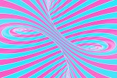 Confection Festive Pink And Blue Spiral Tunnel. Striped Twisted Lollipop Optical Illusion. Abstract  poster