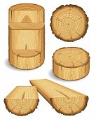 Set of wooden materials â?? Wood, Boards, Logs, and Objects with cross section of tree trunk. Vector