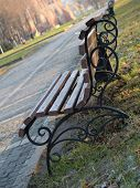 Lonely Bank im Herbst-park