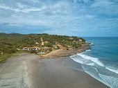 Luxury House On Ocean Coastline Aerial View On Summer Day poster