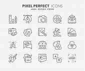 Thin Line Icons Set Of Graphic Design And Creative Process. Outline Symbol Collection. Editable Vect poster