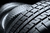 Close Up Black Tyre Profile Car Tires Row poster