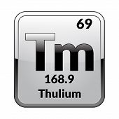 Thulium Symbol.chemical Element Of The Periodic Table On A Glossy White Background In A Silver Frame poster