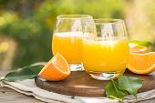 Glass Of Fresh Orange Juice,ripe Orange Fruit And Slices On Natural .freshly Squeezed Orange Juice W poster