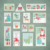 Collection of funny Christmas post stamps. Vector illustration.