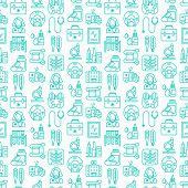 Medicine Seamless Pattern With Thin Line Icons: Doctor, Ambulance, Stethoscope, Microscope, Thermome poster