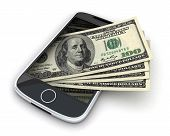 foto of ebusiness  - Phone and money on white background  - JPG