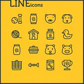 Illustration Of 16 Pet Icons Line Style. Editable Set Of Pet Food, Pet Medicine, Pet Toys And Other  poster