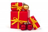 Christmas gifts with red and golden balls