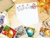 Letter to Santa Claus. Horizontal background with retro photos