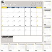 English Calendar Template For Year 2019, Set Of 12 Months, Week Starts On Sunday, Printable Calendar poster