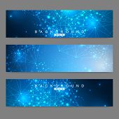 Scientific Set Of Modern Vector Banners.futuristic Digital Science Technology Concept For Web Banner poster