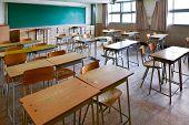 School Classroom With School Desks And Blackboard In South Korea High School. poster