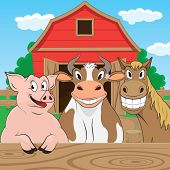 image of farm animals  - Vector illustration of pigs cows and horses - JPG
