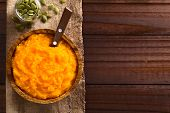Fresh Homemade Vegan Pumpkin Puree Or Mash In Wooden Bowl, Pumpkin Seeds On The Side, Photographed O poster