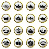 Crown and tiara icons set. Illustration vector.