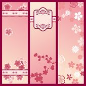 Cherry blossom banners. Illustration vector.