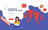 Brand Reputation Management Concept Vector Illustration. Customer Feedback Online Review Site Landin poster