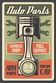 Car Service And Auto Spare Parts Shop Retro Advertisement Poster. Vector Vintage Design Of Engine Va poster