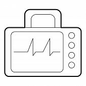 Monitor With Cardiogram Icon. Outline Illustration Of Monitor With Cardiogram Icon For Web poster
