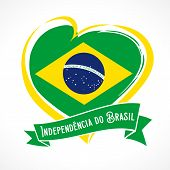 Love Brazil Flag Emblem With Portuguese Text Independencia Do Brasil On Ribbon. Translate: Independe poster