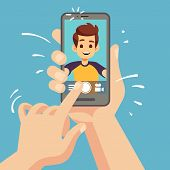 Young Happy Man Taking Selfie Photo On Smartphone. Male Face Portrait On Cellphone Screen. Cartoon V poster