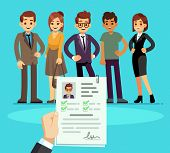 Recruitment. Recruiter Choosing Candidates With Cv Resume. Human Resource And Job Interview Vector C poster