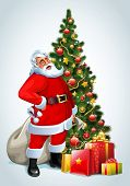 Santa Claus and Christmas tree and gifts