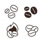 Coffee Beans Linear Icons Set. Coffee Shop Logo Element. Cafe And Restaurant Menu Design. Coffee Hou poster