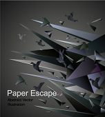 Papier Escape, Origami abstrakten Vektor-Illustration.