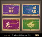 Colorful collection of chipboard Christmas cards. Two colors cards for printing  the old fashioned w