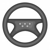 Steering Wheel Of Taxi Icon. Gray Monochrome Illustration Of Steering Wheel Of Taxi Icon For Web poster