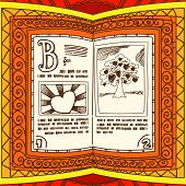 Graceful ornamented book with valentine`s day page