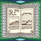 Ornamented magic book with page of rain