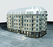 Render del edificio vintage con techo de acero