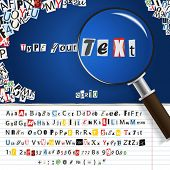 Searching magnifier with set of vector letters from newspaper and magazines