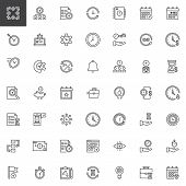 Time Management Outline Icons Set. Linear Style Symbols Collection Line Signs Pack Vector Graphics.  poster