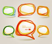 Abstract hand-drawn talking bubbles set