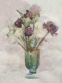 Flowers In A Glass Vase, Watercolor Painting, Impressionism poster