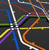 Perspective background of metro scheme on black