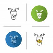 Adding Sugar To Tea Icon. Disposable Tea Cup With Sugar Sachets. Flat Design, Linear And Color Style poster