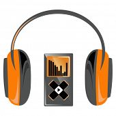 Orange player with headphones. Vector illustration