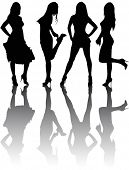 stock photo of person silhouette  - Silhouettes of four beautiful girls - JPG