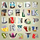 stock photo of glyphs  - vector set alphabet - JPG