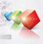 Vector colorful shiny cubes