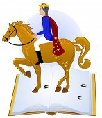 Tales book, prince riding his horse