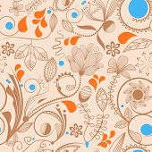 Floral seamless background in peachy tones