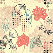 Floral seamless background with leaves